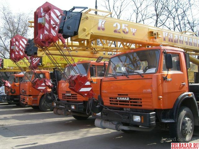 Автокраны 16-50 тонн,  стрелы от 22 м до 31 м.