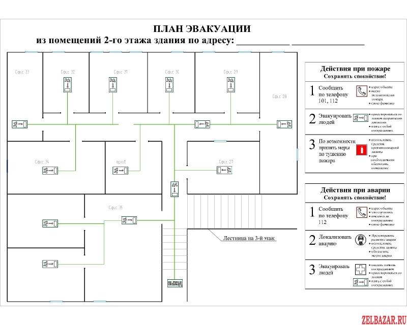 Планы эвакуации и схемы в Автокаде.