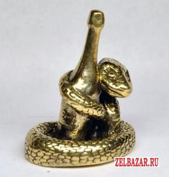 Змея с бутылкой шампанского фигурка из бронзы